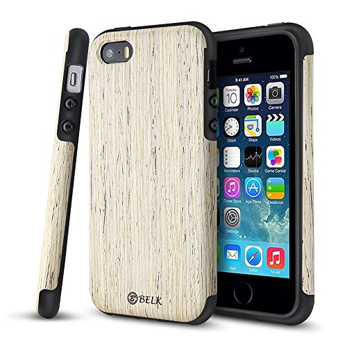 iPhone SE Case, iPhone 5S Case, B BELK [Air To Beat] Non Slip Wood Tactile [Slim Matte] Grip Bumper [Ultra Light] Soft TPU Back Cover, Premium Smooth Wooden Shell for iPhone SE/iPhone 5S, Birch