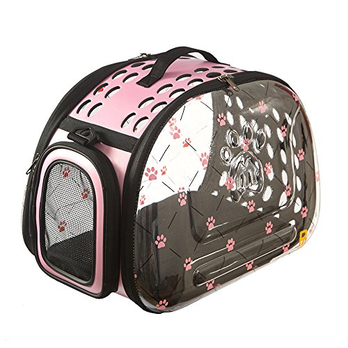 PINMEI Stylish Foldable Breathable Dog & Cat Clear Carrier Bag with Dog & Cat ID Tag Powered by PetHub (Pink)
