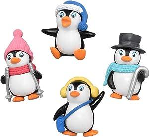 Garneck 4pcs Cartoon Penguin Decor,Micro Landscape Decoration Lovely Penguin Doll Desktop Crafts DIY Penguin Ornaments Toy Collectible Figurine for Children Kids Christmas Birthday Gift