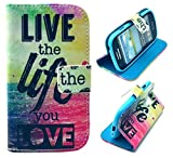 S3 Mini Case (Not for Regular S3 Case),Galaxy S3 Mini Case, Welity Live Life Sea Pattern Design Pu Leather with wallet Case for Samsung Galaxy S3 Mini i8190 and one gift