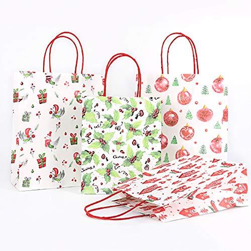 (Brave669 Christmas Ball Box Cabin Holly Kraft Paper Gift Bag Holiday Party Candy Handbag)