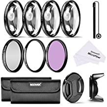 Neewer 55MM Professional Lens Filter and Close-up Macro Accessory Kit for SONY Alpha Series A99 A77 A65 A58 A57 A55 A390 A100 DSLR Cameras with a 18-55MM Zoom Lens- Includes Filter Kit (UV, CPL, FLD) + Macro Close-Up Set (+1, +2, +4, +10)+ Filter Carrying Pouch + Tulip Flower Lens Hood + Center Pinch Lens Cap with Cap Keeper Leash + Microfiber Cleaning Cloth