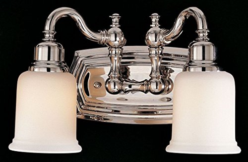 Feiss VS8002-PN Canterbury Glass Wall Vanity Bath Lighting, Chrome, 2-Light (14