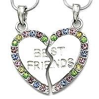 Soulbreezecollection Mejores amigos de siempre BFF Collar de corazón Colgante Adolescente Mujeres grabadas