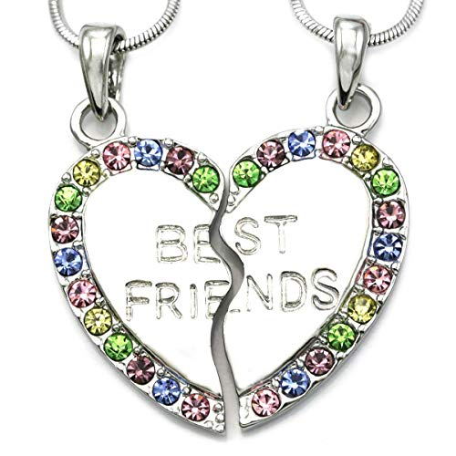 Soulbreezecollection Best Friends Forever BFF Heart Necklace Pendant Teen Women Engraved