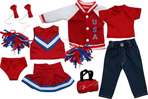 [Get Ready Kids 11 Piece Cheerleader Outfit Set For 18 Inch Dolls] (Cheerleader Kids Outfit)