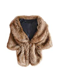 Kingfansion Winter Elegant Bridal Wedding Faux Fur Long Shawl Stole Wrap Shrug Scarf (Coffee)