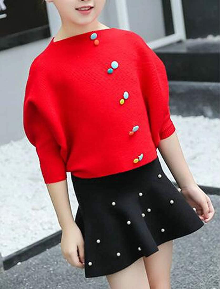 Cromoncent Girls Batwing Sleeve Knit Loose Round-Neck Cute Sweater