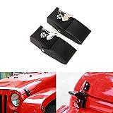 jeep wrangler hood lock - Stainless Steel Hood Latches Hood Lock Catch Latches Kit for Jeep Wrangler JK 2007-2017 (Black)