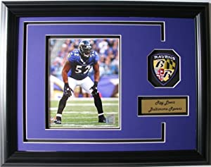 NFL Baltimore Ravens Ray Lewis Framed Landscape Photo with Team Patch and Nameplate