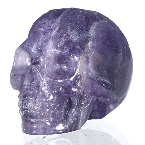 "Mineralbiz 1.5"" Natural Purple Fluorite Carved Crystal Skull, Good Polished Human Skull Carving, Crystal Healing Reiki Sculpture"