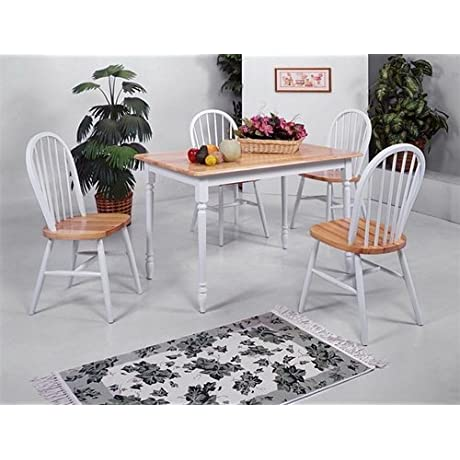 5 Piece Dining Furniture Set With 4 Chairs And Table In Natural White