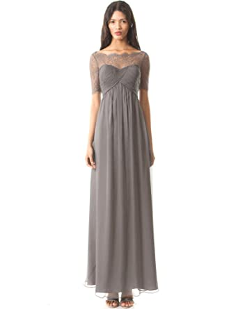 Miss Mint Womens Sweetheart Illusion Medium Gray Evening Prom Dress Long (2, Medium Gray