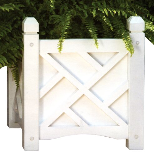 DMC Products 70202 Chippendale Planter, 14-inch, White (Traditional Planter Wicker)