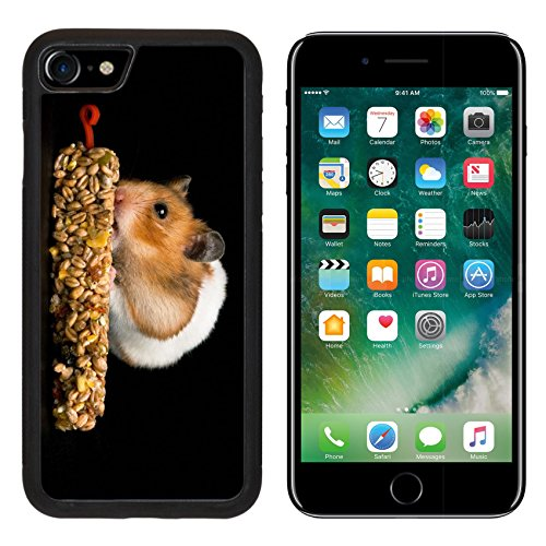 Box Treat Hamster (MSD Premium Apple iPhone 7 Aluminum Backplate Bumper Snap Case iPhone7 IMAGE ID: 10492602 Female hamster with full cheeks eating her favourite treat bar Black background)
