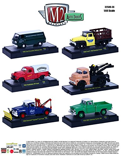 (1:64 M2 MACHINES COLLECTION - AUTO-THENTICS RELEASE 36 IN ACRYLIC CASES Diecast Model Car By M2 Machines Set of 6 Cars)