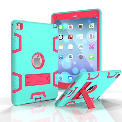 iPad Air 2 Case iPad 6 Case Darmor Shop [Heavy Duty] [Kickstand Feature] PC+Silicon Hybrid Protective Three Layer Armor Defender Full Body Protective Case For iPad Air 2/ iPad 6 (Lizard Tri Fold)