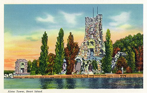 Thousand Islands, New York - Heart Island View of Alster Tower (16x24 SIGNED Print Master Giclee Print w/Certificate of Authenticity - Wall Decor Travel Poster)