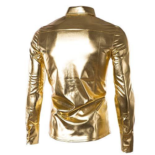 Brillant Chemises Or Mode Ihengh À Surface Hommes Revêtement De Avec Manches Nouvelles Peintes Hauts Longues Blouse Tops les wwWZTXqRB1