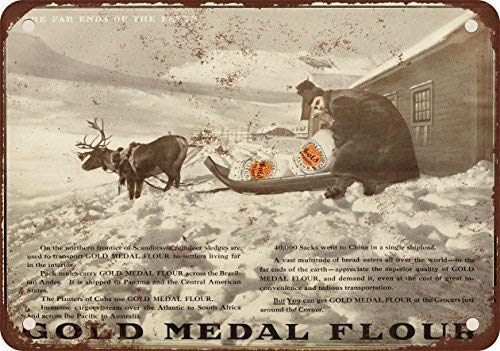 - GMNJH 1910 Gold Medal Flour Vintage Look Reproduction Metal Tin Sign 12X18 Inches