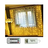 Battery Operated Curtain Window Lights with Remote Timer Bedroom Patio LED Curtain String Light Icicle Waterfall Lights for Outdoor Indoor (Warm White, 6.5 X 6.5ft, Dimmable)