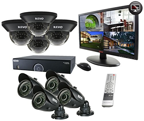 REVO America R165D4GB4GM21-2T 16 Channel 2TB 960H DVR Surveillance System with 8 700TVL 100-Feet Night Vision Cameras and 21.5-Inch Monitor (Black) (7 Tinted Dome Housing)