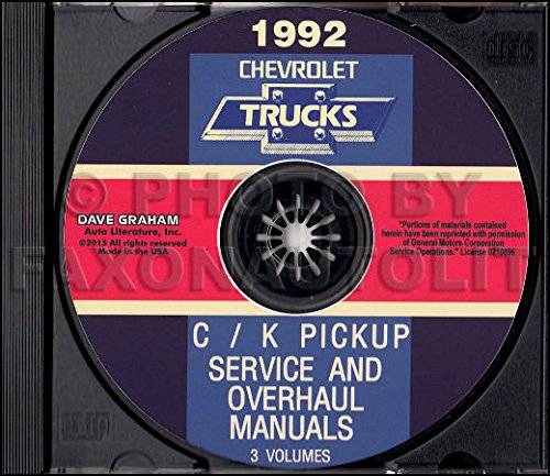 Pickup 454ss (1992 CHEVROLET TRUCK & PICKUP FACTORY REPAIR SHOP & SERVICE MANUAL CD Includes C/K Truck, Silverado, Scottsdale, 454SS, Dually, Extended Cab, 1500, 2500, 3500 Gas & Diesel)