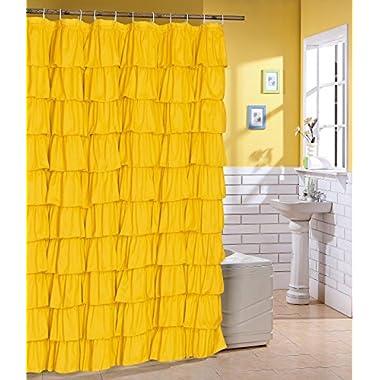 Ruffled Yallow Fabric Shower Curtain