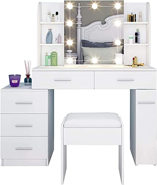 a Mirror with Sliding Dressing Table and stools Modern Minimalist Dresser with Five Drawers with Vanity lamp Bedroom Dresser,Black