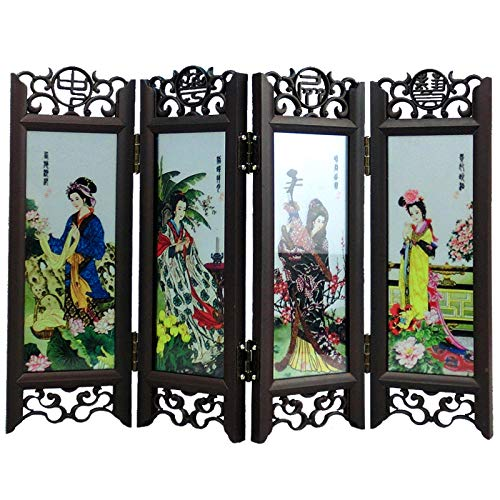 - ABYSTEPS Screens & Room Dividers - Arts Crafts Gift Desktop Decoration Chinese Vintage Glass Antique Mini Folding Screen Ornaments Room Divider Souvenir Home Decor 1 PCs