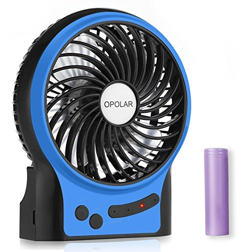 OPOLAR Rechargeable Battery Operated Fan, Portable Desk Fan with Internal and Side Light, 3 Speeds, 2200 mAh, Handheld Fan, Personal Cooling for Traveling,Boating,Baby Stroller,Fishing,Camping-Blue