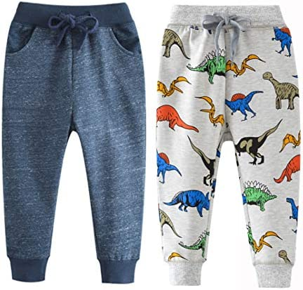 Qin.Orianna Toddler Baby Boy Active Cotton Drawstring Jogger Pants with Pockets