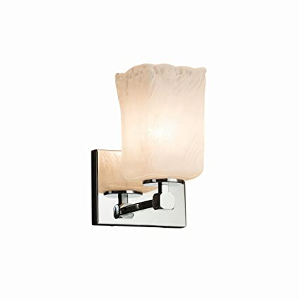Justice Design Group Lighting GLA-8421-26-WHTW-CROM-LED1-700 Tetra 1 Square with Rippled Rim Shade LED Light Wall Sconce Polished Chrome