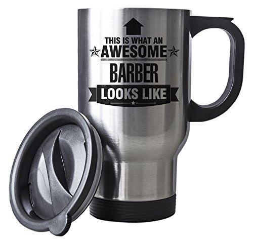 Gift idea work BLACK This is what an AWESOME Barber Looks like SILVER Mug