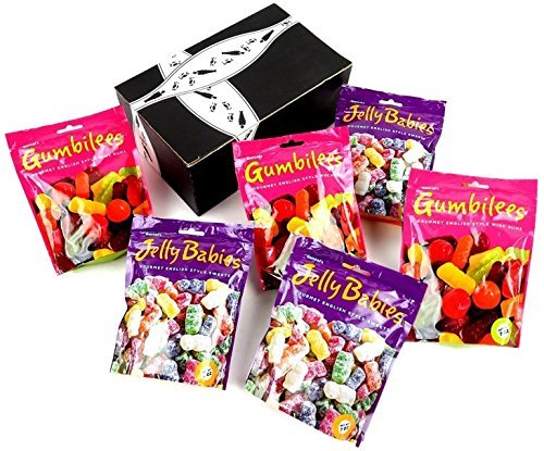 Gustaf's Gourmet English Style Candies 2-Flavor Variety: Three 7 oz Bags Each of Gumbilees Wine Gums and Jelly Babies in a BlackTie Box (6 Items Total)
