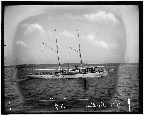 Photo: Steam yacht Lurline,water vessels,steam yachts,sailing,ship,Rhode Island,RI,1895