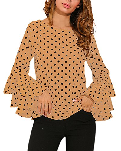 ZANZEA Women's Polka Dot Layered Ruffle Long Sleeve Crew Neck Elegant Tee Top Blouse Khaki US 4