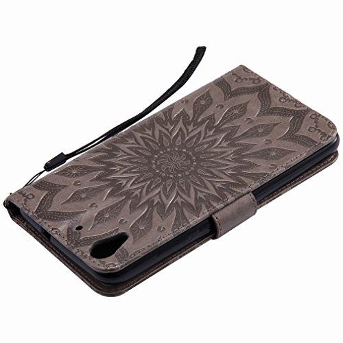 Yiizy Huawei Y6 II / Huawei Honor Holly 3 Custodia Cover, Sole Petali Design Sottile Flip Portafoglio PU Pelle Cuoio Copertura Shell Case Slot Schede Cavalletto Stile Libro Bumper Protettivo Borsa (Gr