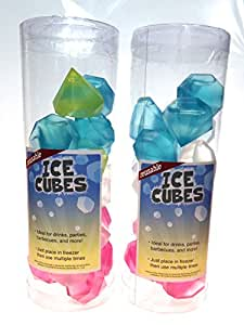 Diamond Shaped Reusable Ice Cubes Multi Colored Set of 2