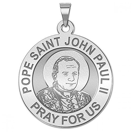 Pope Saint John Paul II (Younger Version) Religious Medal - 2/3 Inch Size of Dime, Sterling Silver John Paul Medal