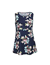 DierCosy Women Maternity Floral Nursing Layer Soft Pregnant Tank Nursing Shirt Comfy Sleeveless Breastfeeding Clothes Mom Breastfeeding Blouse Navy Blue (Size. XXL) BabyProducts