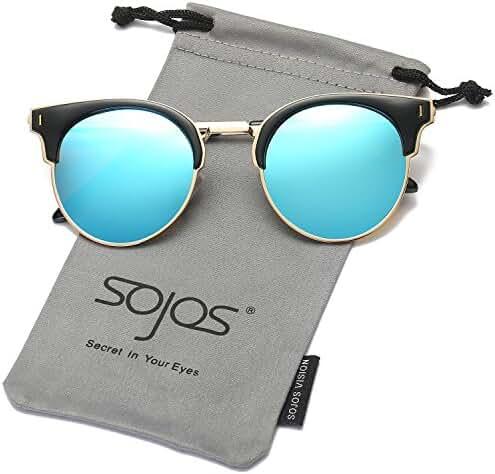 SojoS Designer Inspired Half Metal Frame Round Polarized Sunglasses SJ2036