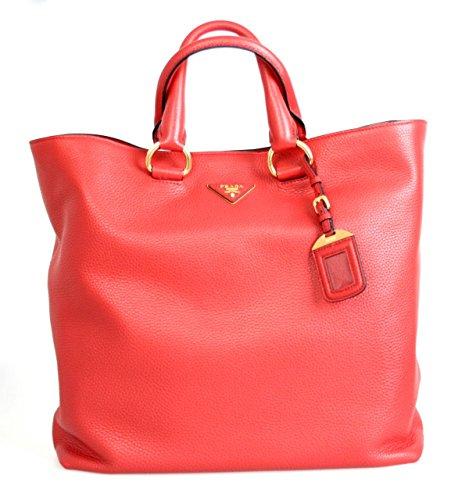 Prada Women's BN1713 Red Leather Shopper