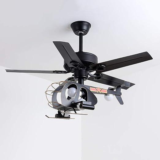 XLOOYZ E27 Hilo, Hierro forjado Cuerpo + pantalla de cristal, Ventilador de techo helicóptero lámpara colgante Negro, Sala de lámpara colgante infantil, Boy Avión dormitorio de la lámpara de dibujos a: Amazon.es: