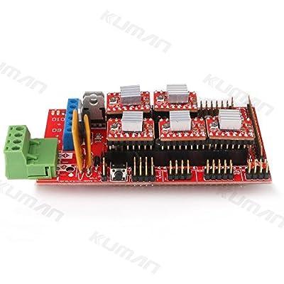 Kuman 3D Printer Kit Controller RepRap RAMPS 1.4 Controller Board + 5pcs A4988 StepStick Stepper Motor Driver Module + Heat Sink