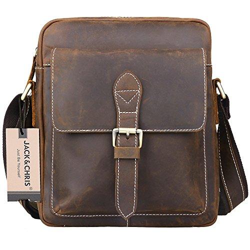 JackChris Mens Handmade Leather Vertical Messenger Bag Shoulder Bag, MB102B
