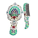 WHITE GREEN Peacock Vintage Metal Mirror And Comb Set