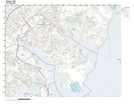 Amazoncom ZIP Code Wall Map of Essex MD ZIP Code Map Laminated