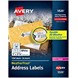 """Avery WeatherProof Address Labels with TrueBlock Technology for Laser Printers 1"""" x 2-5/8"""", Box of 1,500 (5520)"""