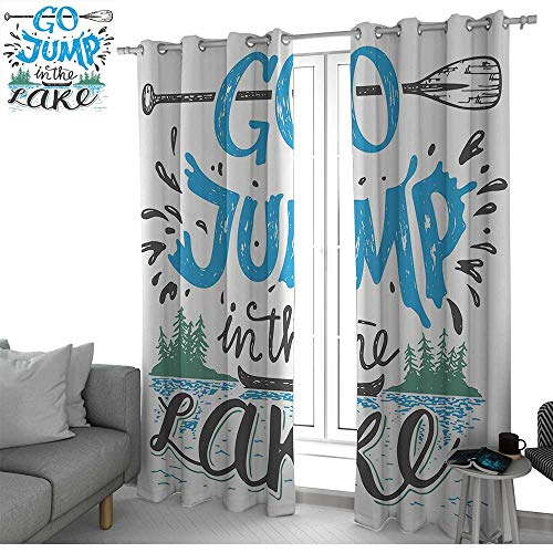 NUOMANAN Room Darkening Wide Curtains Cabin Decor,Vintage Typography Inspiration Quote Lake Sign Canoe Fishing Sports Theme,Blue Black Green,Light Blocking Drapes with Liner ()
